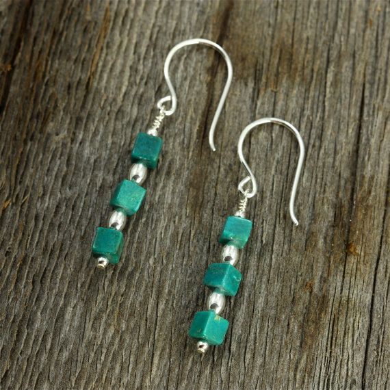 Turquoise Cube Earrings with Sterling Silver by SandCanyonJewelry