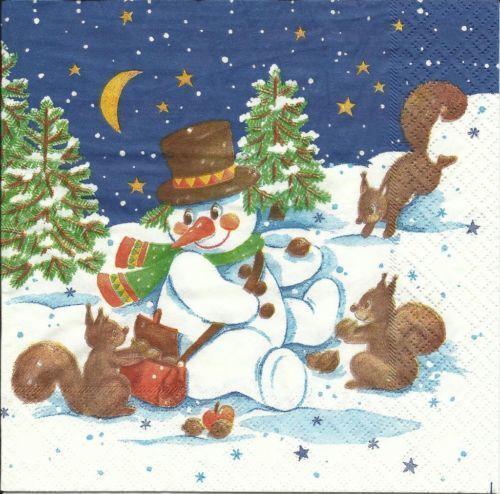 serviette snow friends  schneemann eichhörnchen