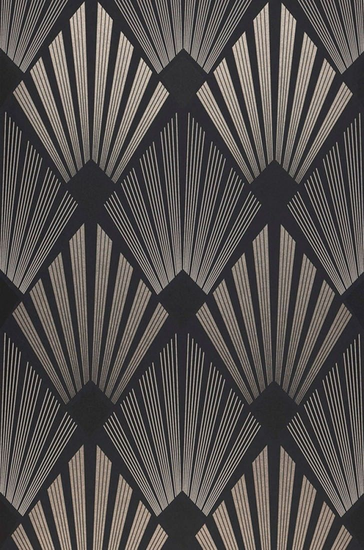 70s home #70s Wallpaper Pontinius | Wallpaper from the 70s #motifartdeco Wallpaper Pontinius (Anthracite, Pearl beige, Black, Silky grey) | Wallpaper from the 70s