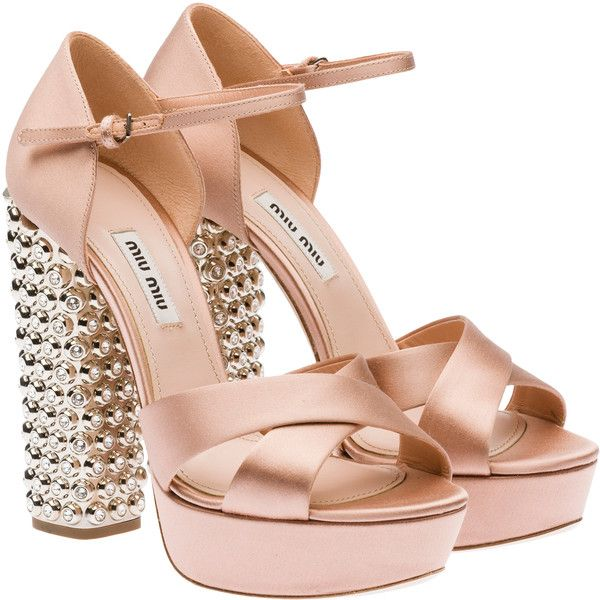 6b94634f701a1 Miu Miu Sandals ($1,450) ❤ liked on Polyvore featuring shoes, sandals, heels,  pink, nude, heeled sandals, nude high heel sandals, high heel sandals, ...