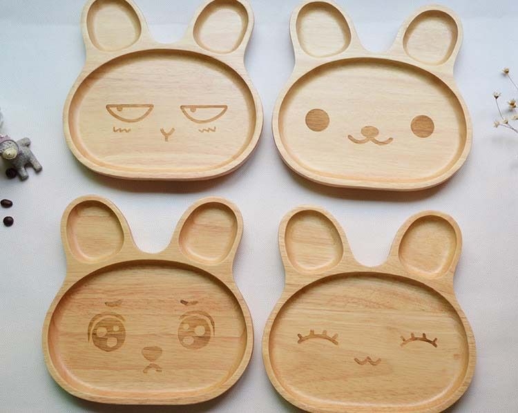 Cartoon rabbit wooden dinner plate for kid/baby eco-friendly child tableware cute shape & Cartoon rabbit wooden dinner plate for kid/baby eco-friendly child ...