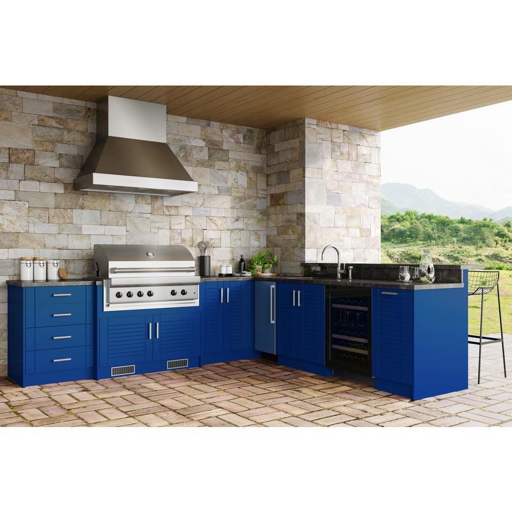 Weatherstrong Tampa Reef Blue 17 Piece 121 25 In X 34 5 In X 28 In Outdoor Kitchen Cabinet Set Wse120wm Trb The Home Depot In 2020 Outdoor Kitchen Cabinets Modern Outdoor Kitchen Outdoor Kitchen
