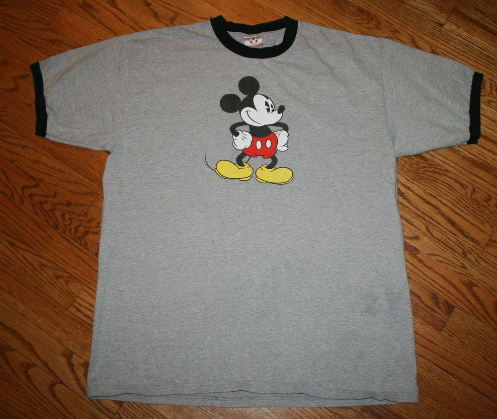 Walt Disney Store Mickey Mouse gray Ringer T-Shirt tee-Men's XL-summer/vacation