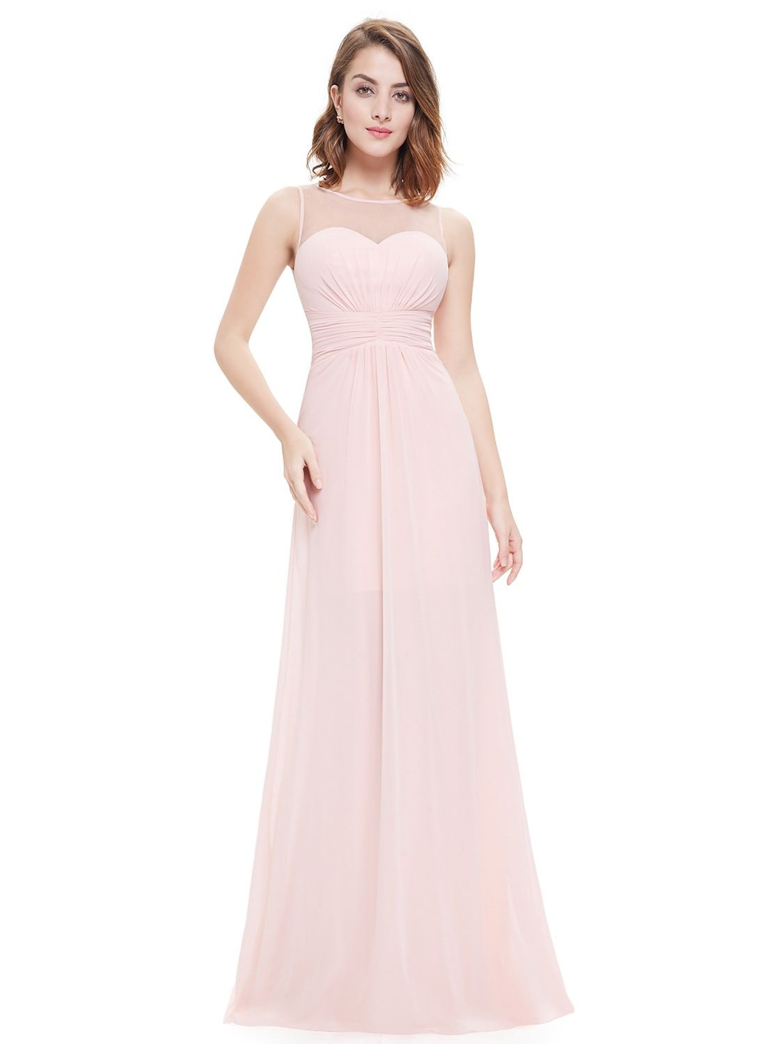 bbdc73be28 Ever-Pretty Women s Sexy Long A-Line Sleeveless Tulle Neckline Formal  Evening Prom Party Bridesmaid Maxi Dresses for Women 08761 Pink US  14 Tulle