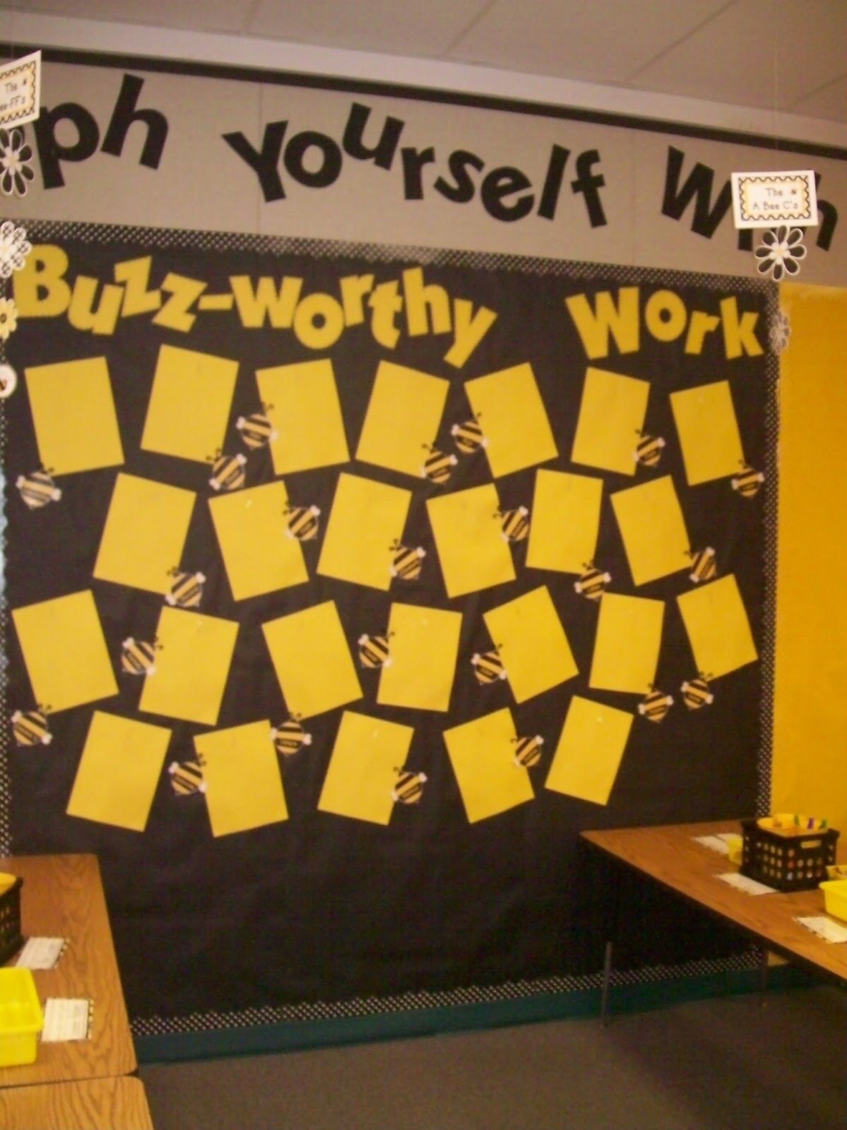 Classroom Decor Research ~ Bee themed classroom this is my work display board the