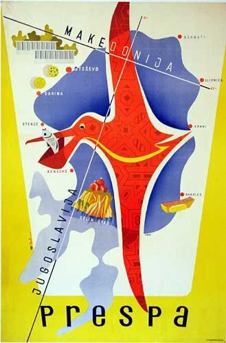 1930's Prespa Macedonia Vintage Yugoslavia Travel Poster Map