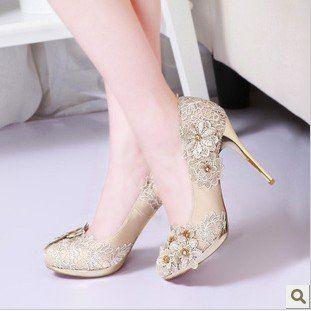 Fl Women Wedding Lace Shoes 2017 Champagne Color