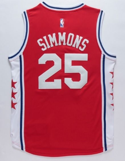 23fa1934b2c Ben Simmons 25 Philadelphia 76ers Jersey Basketball Swingman Throwback Red  Sewn - Basketball-NBA