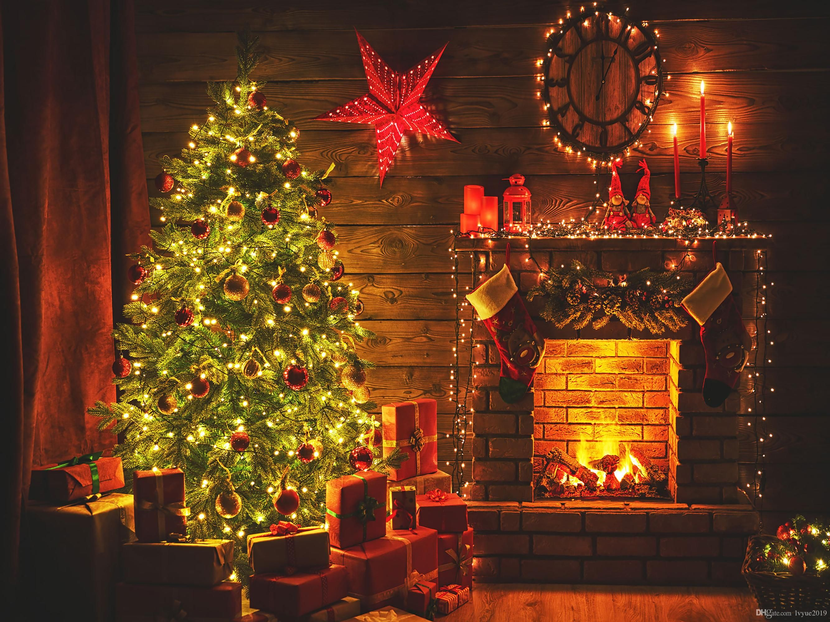 2021 Night Interior Christmas Fireplace Gifts Vinyl Photography Backdrops Magic Glowing Tree Photo Booth Backgrounds For Christmas Studio Props From Lvyue2019 Christmas Fireplace Photo Booth Background Photography Backdrops