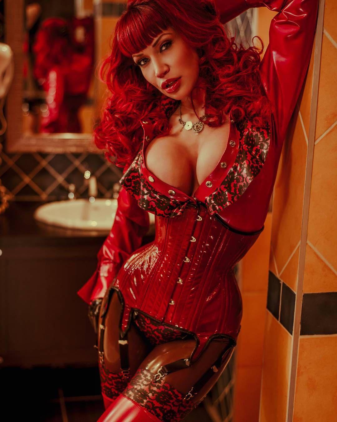 Hot redhead plaid corset