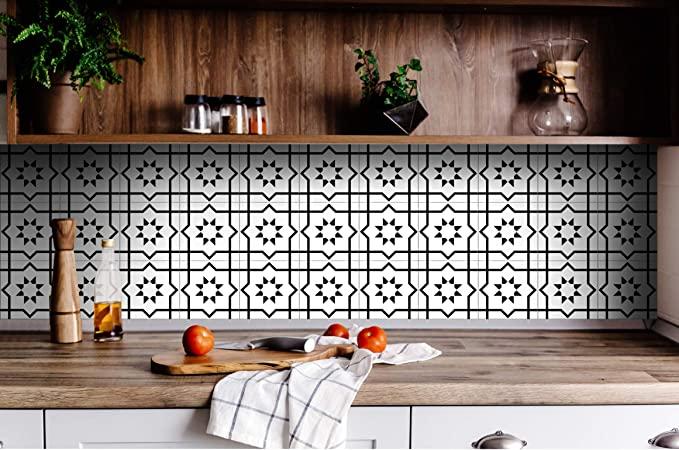 Amazon Com Black White Collection Peel And Stick Tile Stickers 24 Pc Set Backsplash Tile Decals Bathroom Kitche Kitchen Vinyl Home Decor Vinyl Wall Decals