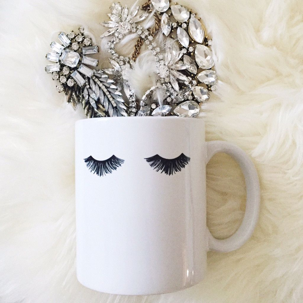Eyelashes Glam Mug | Coffee, White porcelain and Dishwashers