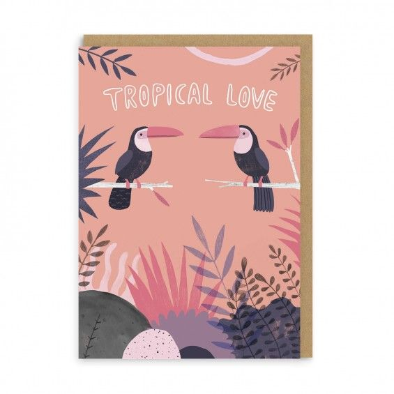 tropical love greeting card  ohh deer  love cards cards
