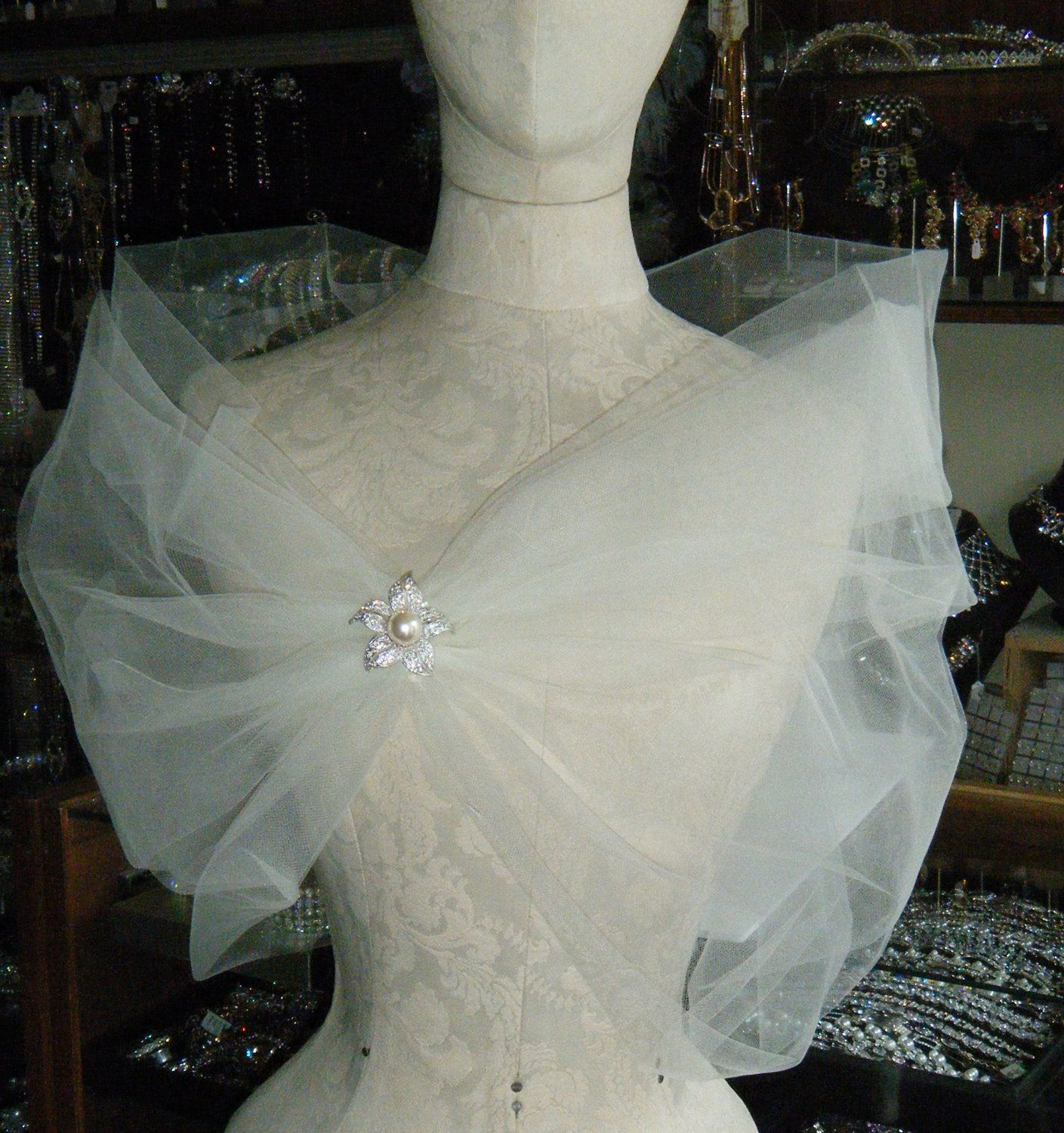 The romantic CLOUD WRAP, perfect to create that light and fun look for your wedding. $60.00, via Etsy.