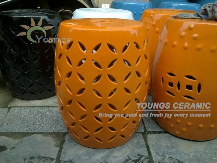 Bright Orange Color Glazed Ceramic Outdoor Garden Stools Craft Of  Jingdezhen Has Different Color Well Sold