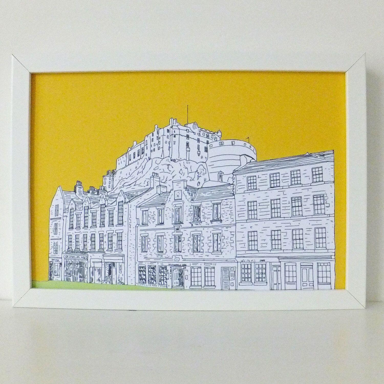 Edinburgh Castle Print, Grassmarket, Sunshine Yellow print, Spring ...