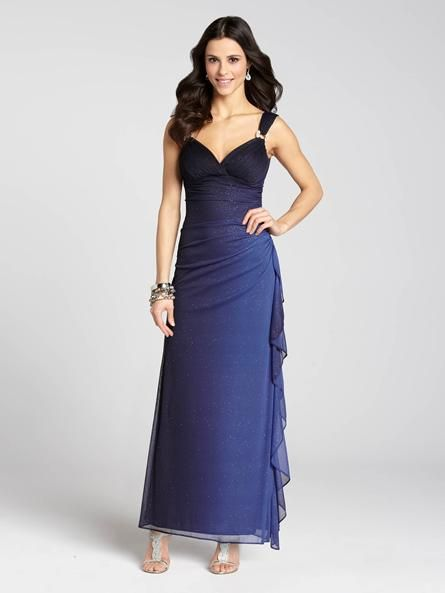 """Laura Petites: for women 5'4"""" and under. Look regal in royal blue in this elegant evening gown. An always-feminine side ruffle runs down the side of the dress while the gradient fade gives the texture a beautiful, Spring-like colour.4010103-0375"""
