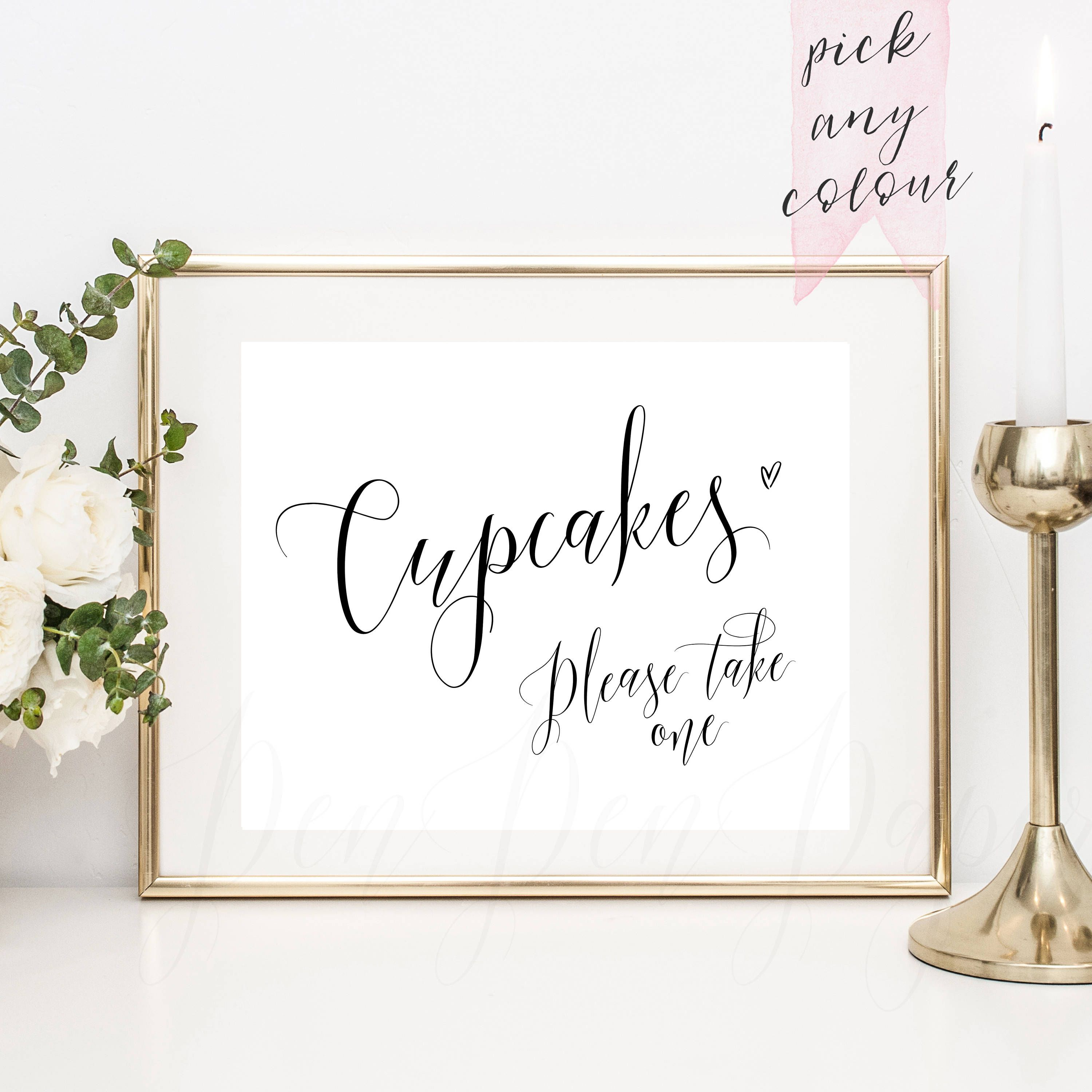 Cupcakes please take one, wedding sign, printable favour sign, favor ...