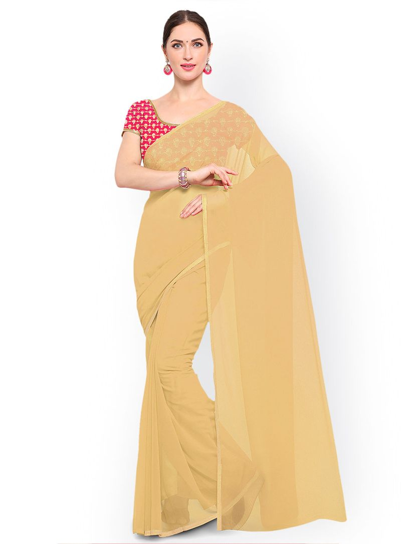 60b89bcae Buy Beige Georgette Festival Wear Saree 146652 with blouse online at lowest  price from vast collection of sarees at Indianclothstore.com.