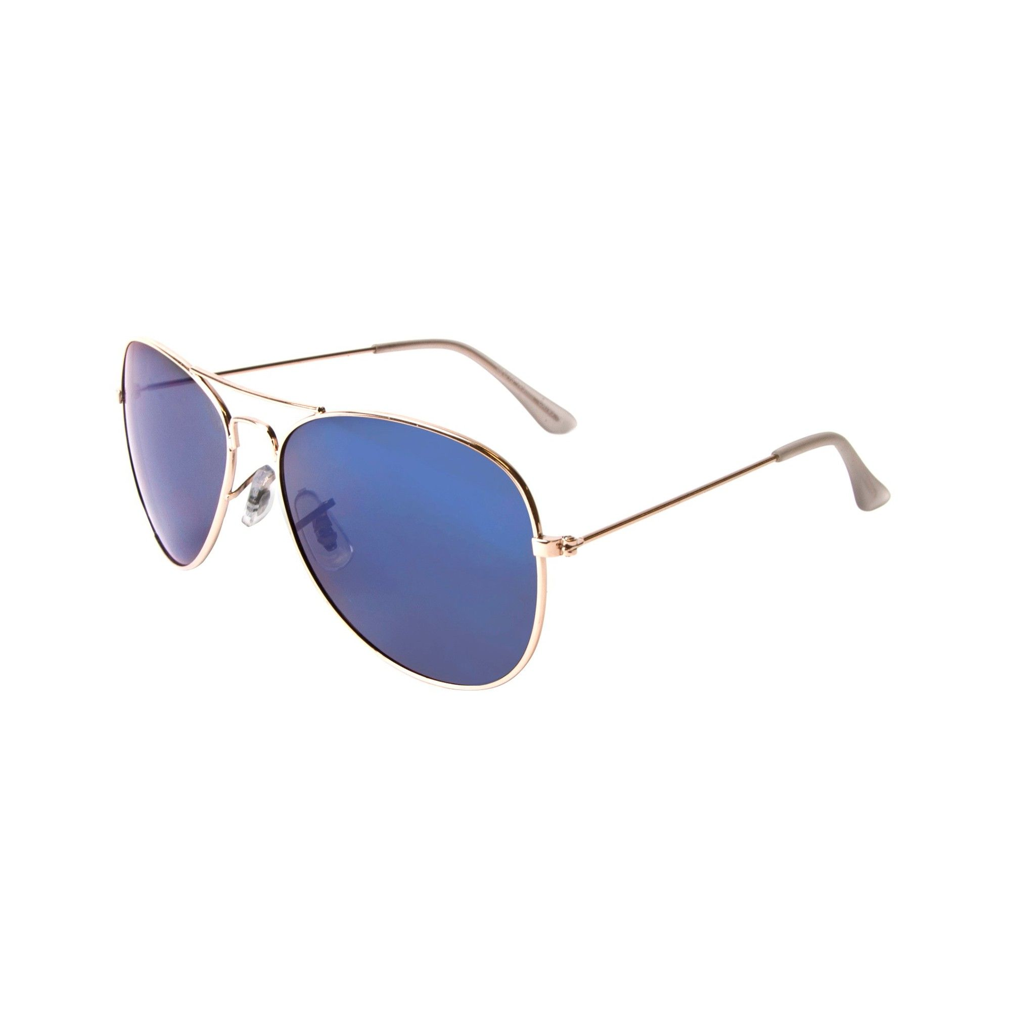 Aviator Sunglasses With Blue Mirror Lens - Shabooms