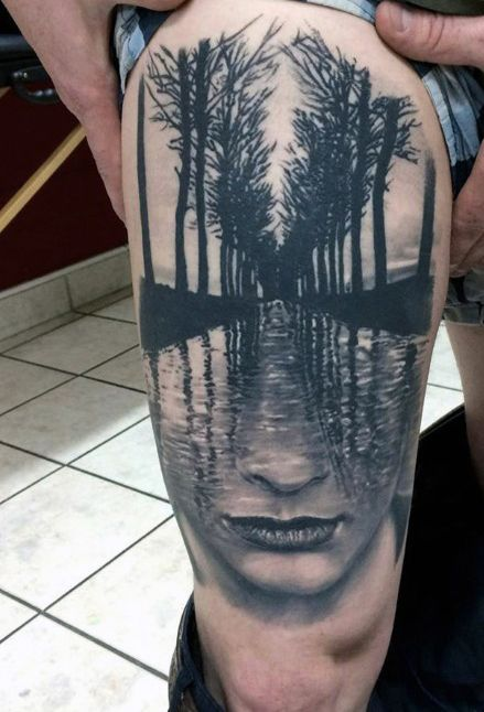 Tree and water abstract thigh tattoo for men tattoo 39 s for Male thigh tattoos