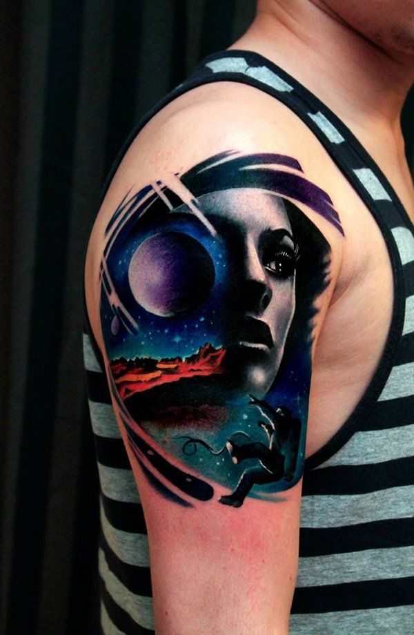 Space with women portrait sleeve tattoo - Could definitely mean that she is your world. You can promise the moon and stars for her and it would feel like being lost in a wonderful dimension when you're with her. Clearly perfect for guys who have found the love of their lives; or even for those who truly love their mothers, sisters and grandmas.