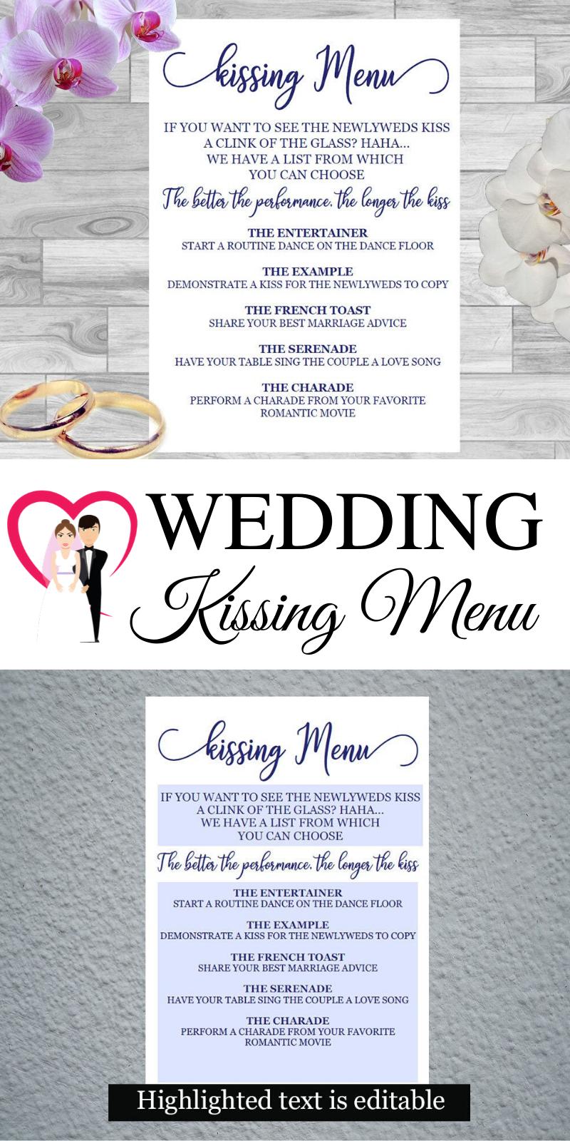 Wedding Kissing Menu Wedding Invitation Card Wedding Invitations Wedding Reception Games Wedding Cards