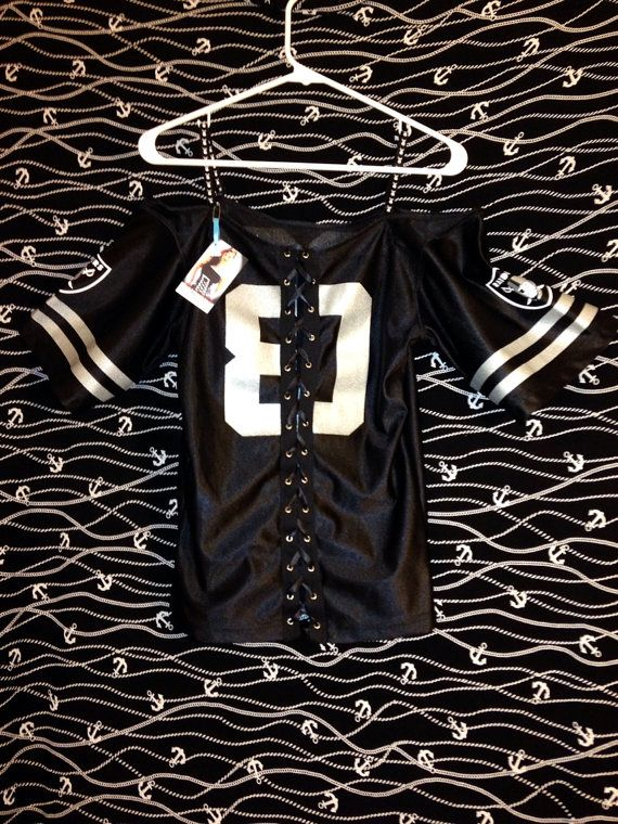 1bd6c2e055b2b Oakland Raiders NFL Womens Top Off the shoulder Corset Shirt on Etsy ...