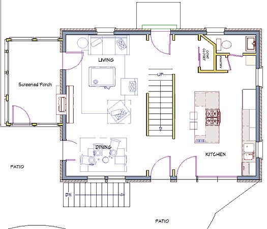 Colonial Remodeling after  modest colonial floor plan see walls of stairwell (opening