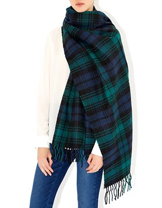 Navy check scarf