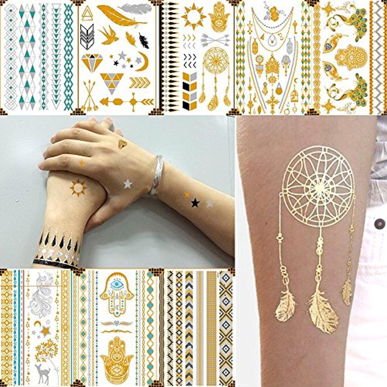 Temporary Tattoos 8 Sheets Gold Silver Metallic Temporary Tattoos Glitter Tattoo Designs Jewelry Tattoos Metallic Tattoo Temporary Jewelry Tattoo Temp Tattoo