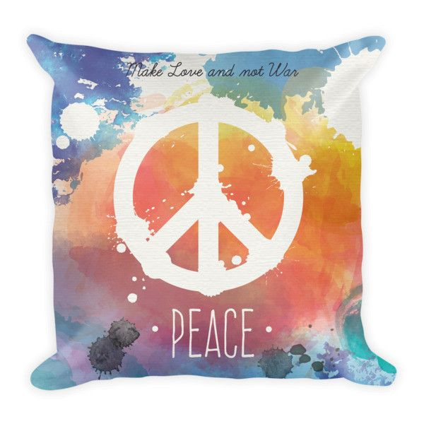 Make Love and Not War Peace Pillowcase w/ stuffing