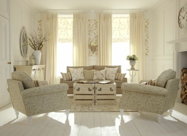 wohnzimmer sesel shabby chic stil beige farbe polsterung. Black Bedroom Furniture Sets. Home Design Ideas