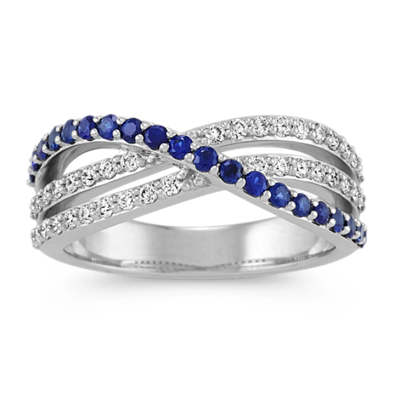 Sapphire Diamond Crossover Ring In White Gold In 2020 Crossover Diamond Ring Rose Gold Plated Ring Fashion Rings