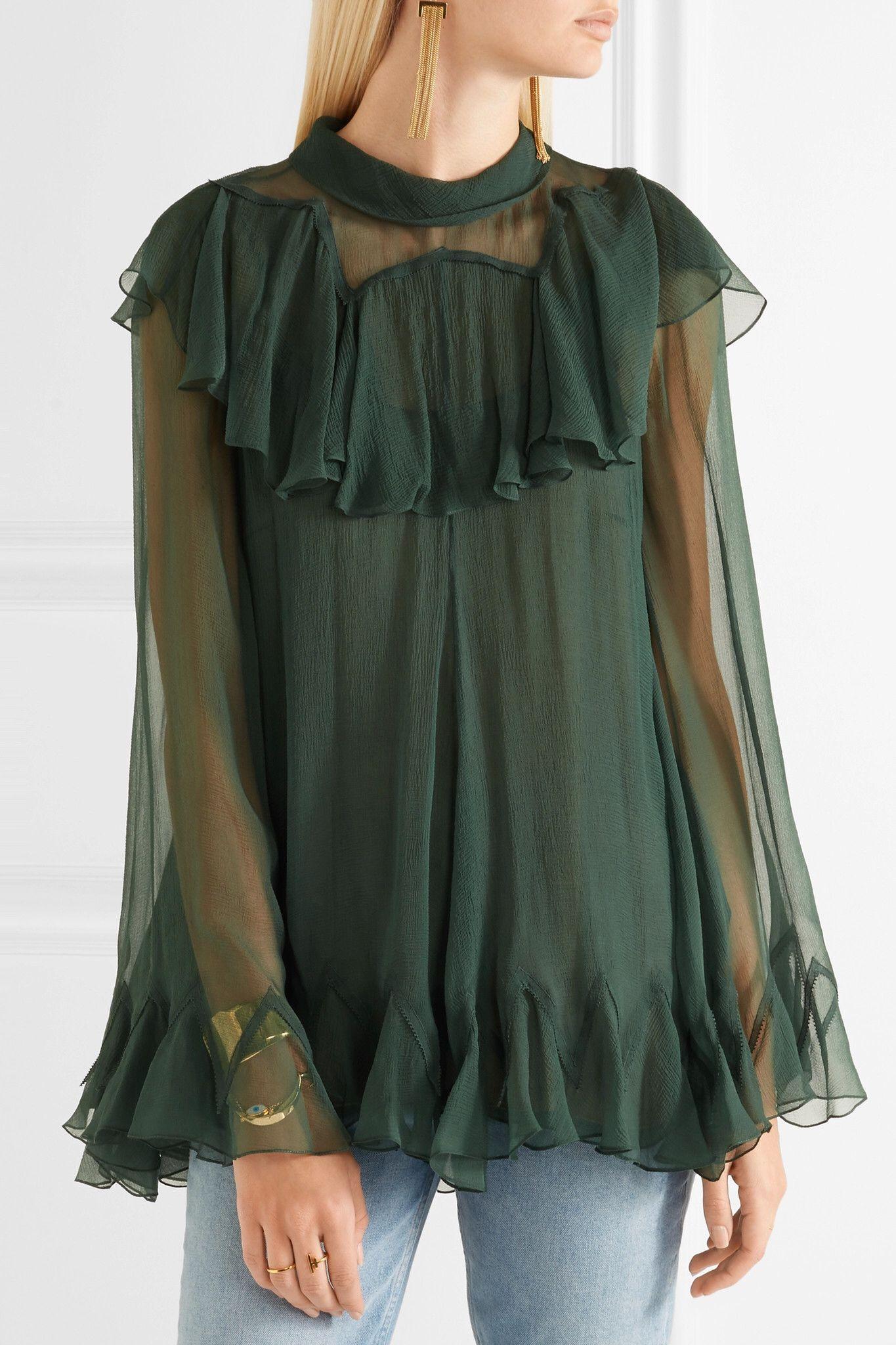 Chloé - Ruffled silk-crepon turtleneck blouse