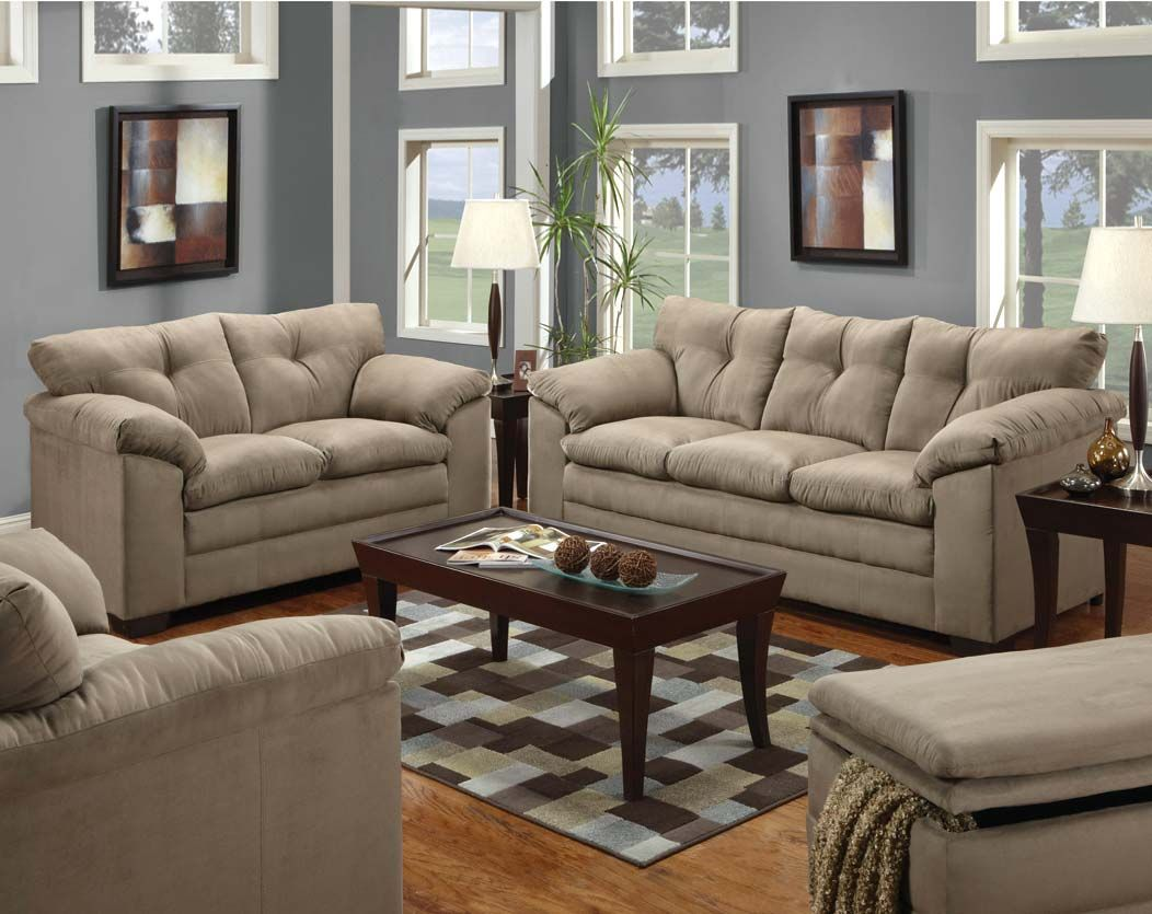 Best Classic Tan Simmons Microfiber Set Luna Mineral Sofa And 400 x 300