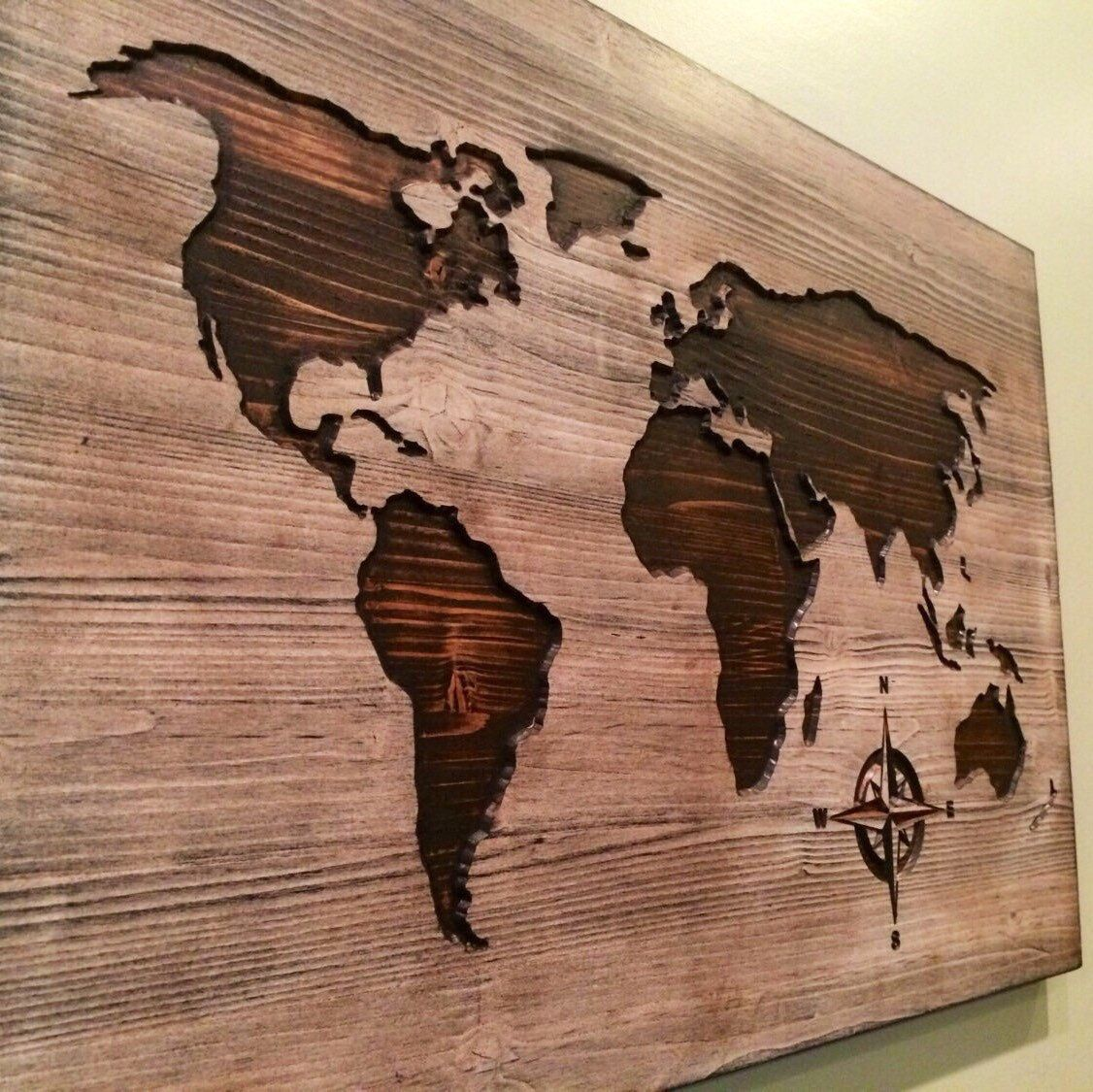 Carved Wooden World Map Wood Wall Art World Map Home
