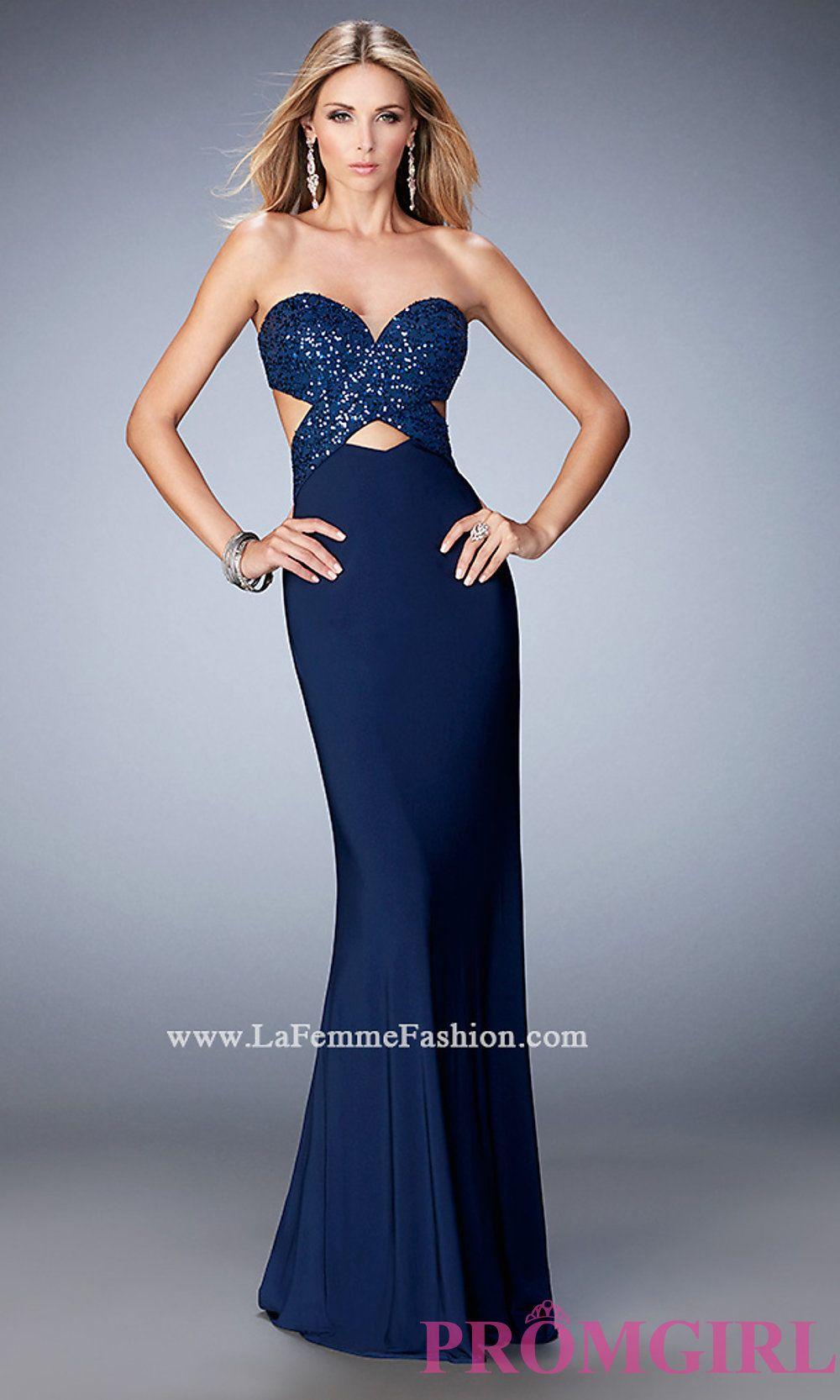 Long open back la femme sweetheart dress lf prom