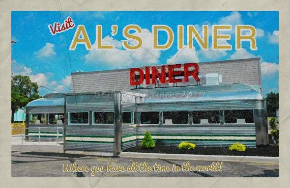 11/22/63 Travel Poster | Als Diner poster | Stephen King poster | Vintage look print | Vintage travel | Fantasy travel poster  Als Diner Where