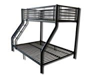 foxhunter new black metal triple children sleeper bunk bed frame no mattress double bed base single
