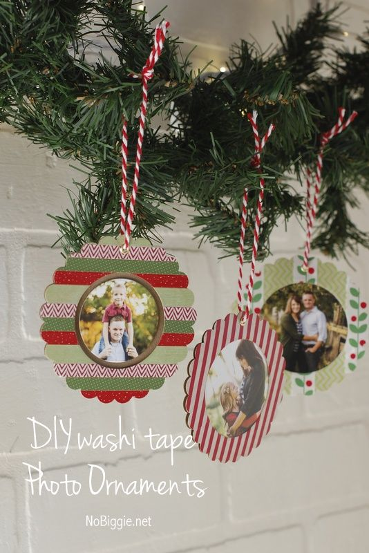 washi tape Christmas picture ornaments | 25+ ornaments kids can make - 25+ Ornaments Kids Can Make Tin Lid Ornaments Pinterest