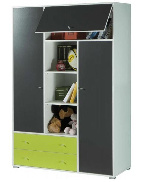 Armadio camera per ragazzo libreria colore bianco verde - Libreria camera ...
