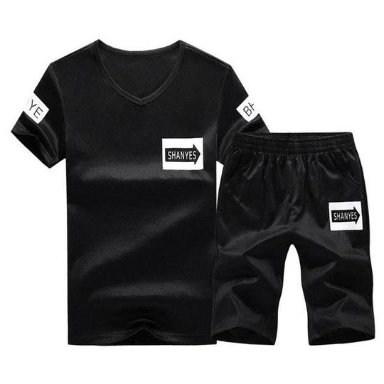 Mens Tracksuit T Shirt Shorts Set Sports Casual Jogging Suit Short Sleeve Summer