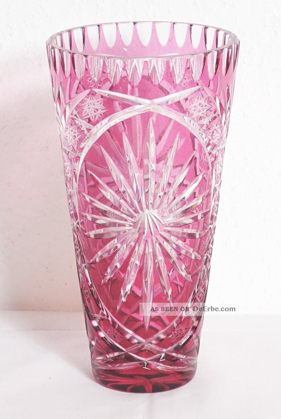Beautiful Large Lusatian Glass Overflow Glass Vase Red Crystal Glass Vase Crystal Picture