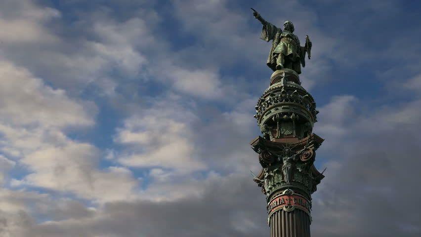 Futuristic Plants | Chistopher Columbus monument in Barcelona, Spain - HD stock video clip