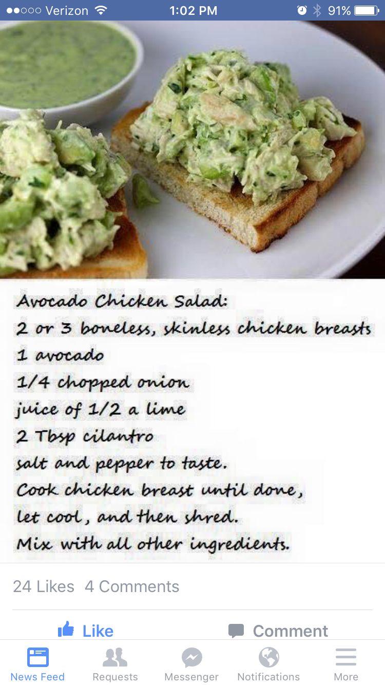 Avocado Chicken Salad Pureed Food Recipes Metabolic