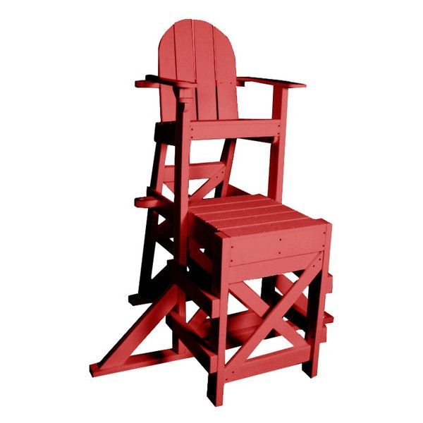 Tailwind Furniture Recycled Plastic Medium Lifeguard Chair With Side Step    MLG 520   Red