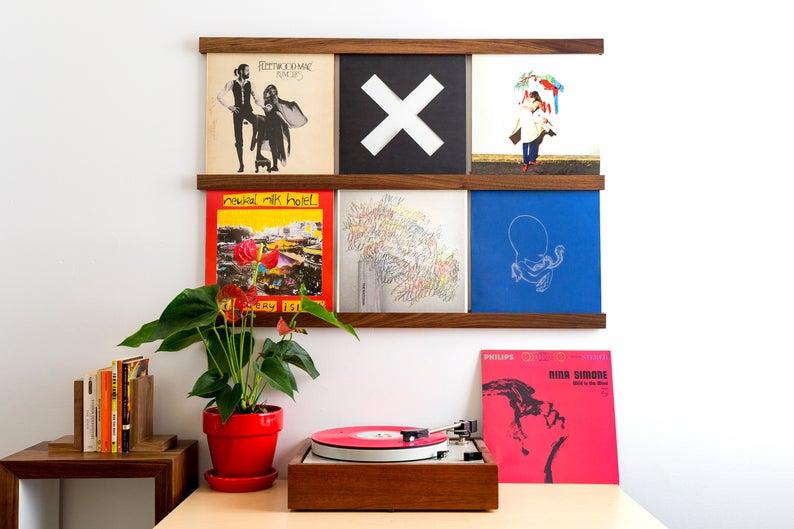 Vinyl Record Storage Shelves In Walnut Etsy Vinyl Record Storage Shelf Vinyl Record Storage Record Storage
