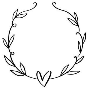 Photo of Silhouette Design Store: Heart Wreath With Leaves