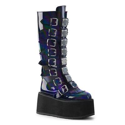 DAMNED 318 Hologram Black Platform Boots | Cloth Clothing
